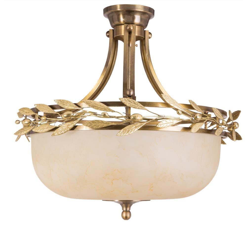 Φωτιστικό πλαφόν ημικρεμαστό με χρυσά φύλλα ελιάς
