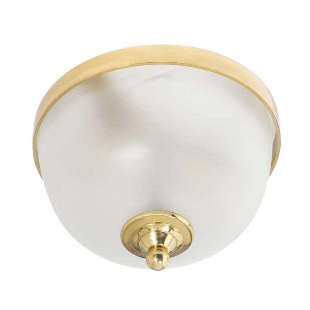 Φωτιστικό πλαφόν οροφής χρυσό γυαλιστερό με λευκό ματ γυαλί
