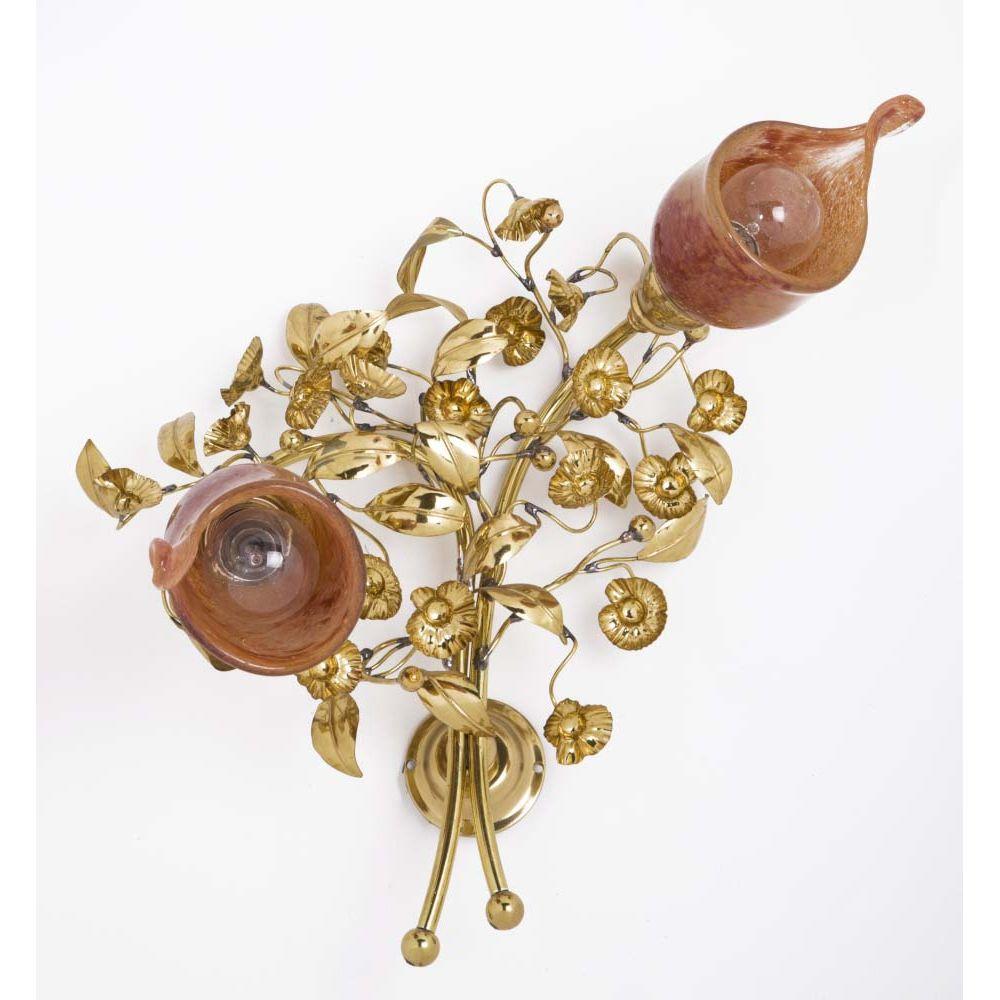 Φωτιστικό επίτοιχο χρυσό γυαλιστερό με φύλλα λεύκας, άνθη και φυσητά γυαλιά
