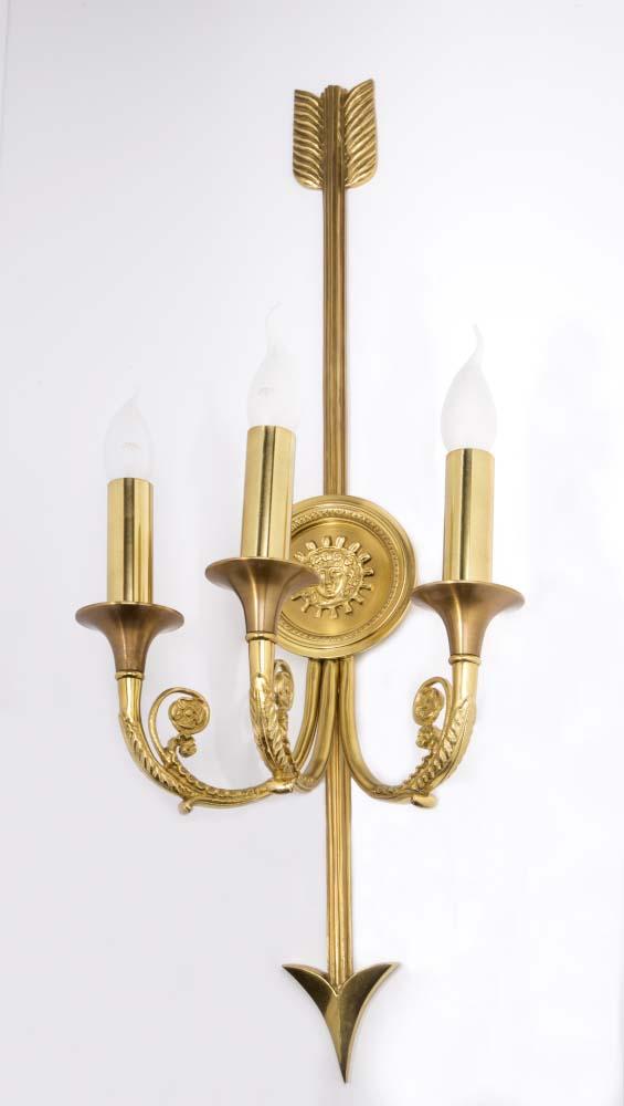 Φωτιστικό επίτοιχο κλασσικό χρυσό με μπρονζέ λεπτομέρειες