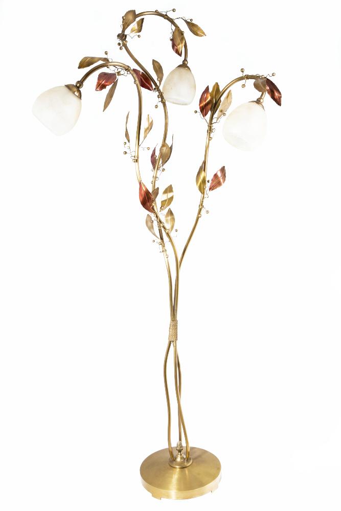 Φωτιστικό δαπέδου μπρονζέ με φύλλα δάφνης και ημιφυσητά γυαλιά